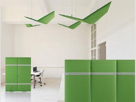 Pannelli divisori in tessuto per la schermatura e libera divisione delle zone lavoro